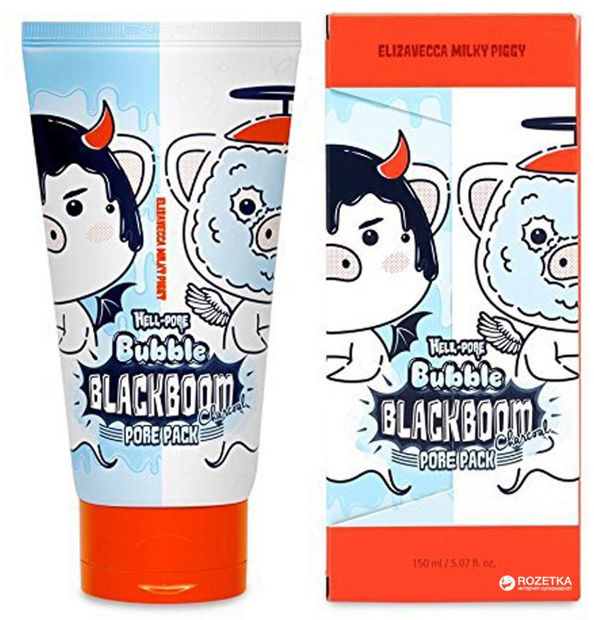 Чёрная кислородная маска для очищения пор Elizavecca Hell-Pore Bubble Blackboom Pore 150 мл