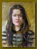 Портрет цветной масляными красками.