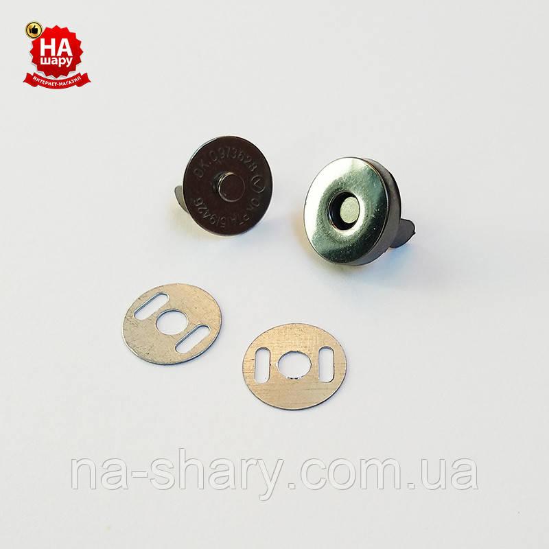 Магнитные кнопки для сумок 14мм. Магнитные кнопки для одежды,  Черный никель (200шт)
