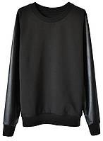 Женский стильный свитшот с кожаными рукавами (женские кофты, кофточки, толстовки, регланы, свитера, кардиганы)