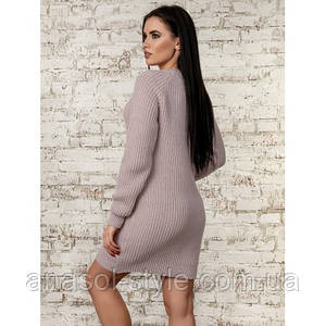 Платье женское  вязаное однотонное пудра