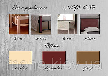Кровать металлическая Djokonda (Джоконда)160/200 на дер.ножках, фото 3