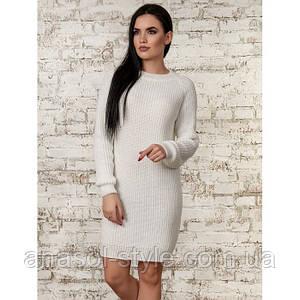 Платье женское  вязаное однотонное белое