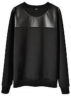 Женский стильный свитшот с кожаной кокеткой  (женские кофты, кофточки, толстовки, регланы, свитера, кардиганы)