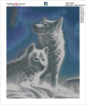 """Набор алмазной вышивки (мозаики) """"Красивая пара волков"""", фото 2"""