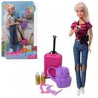 Кукла DEFA 8389-BF 30см, чемодан, рюкзак, фотоаппарат, 2цвета, в слюде, 20,5-32-6см(DEFA 8389-BF)