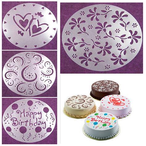 Трафареты для украшения тортов (4шт./упаковка), фото 2