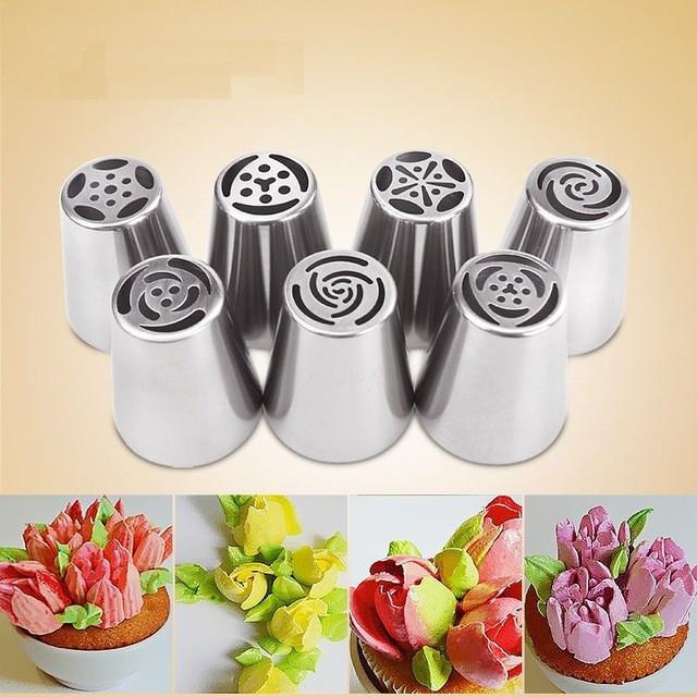 Набор насадок для цветов из крема (7 штук) (для капкейков/тортов/и т.д.)