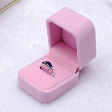 """Подарочная бархатная коробочка """"Шарм"""" для кольца/подвески/серьг и др. (розовая), фото 2"""