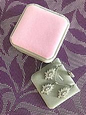 """Подарочная бархатная коробочка """"Шарм"""" для кулона/подвески/комплекта и др. (серая с розовым верхом), фото 2"""