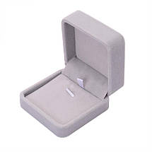 """Подарочная бархатная коробочка """"Шарм"""" для кулона/подвески/комплекта и др. (серая с розовым верхом), фото 3"""