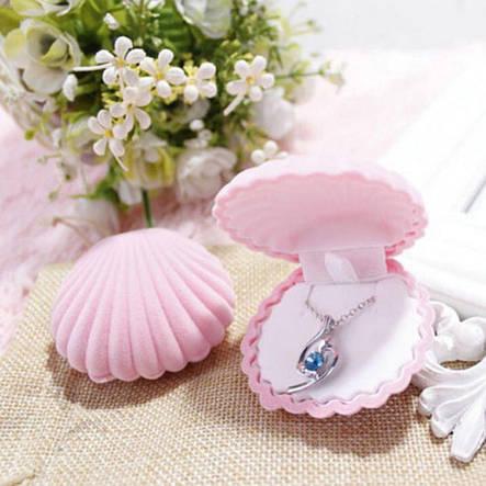 """Подарочная бархатная коробочка """"Ракушка"""" для подвески/серьг и др.(розовая), фото 2"""