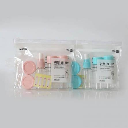 7 в 1 портативный набор мини-емкостей для косметики и других средств(в дорогу) + зип-пакет (розовый/голубой), фото 2