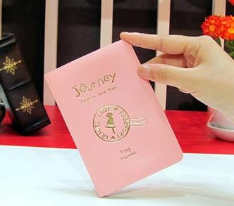 """Стильная обложка на паспорт """"Journey(Путешествие)"""" (розовая), фото 2"""