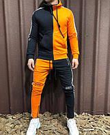 Мужской двухцветный спортивный костюм оранжевый