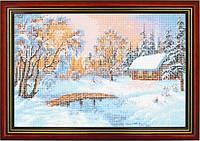 Схема для вышивки бисером «Зимний дом у реки»