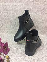 Ботинок женский кожаный с цепочкой 36