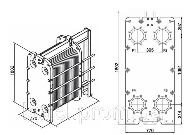 Размеры разборного пластинчатого теплообменника СТА-75