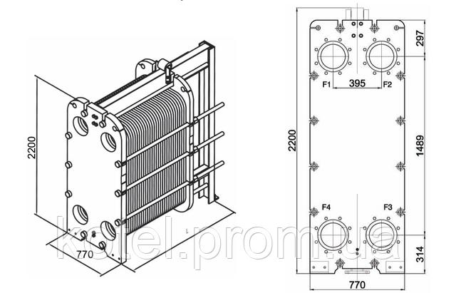 Размеры разборного пластинчатого теплообменника СТА-100