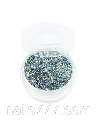 Глиттер для дизайна ногтей, Серебро Голографик, фото 2