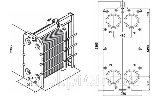 Размеры разборного пластинчатого теплообменника СТА-140