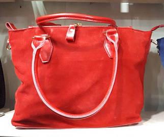 Женская замшевая красная сумка-тоут