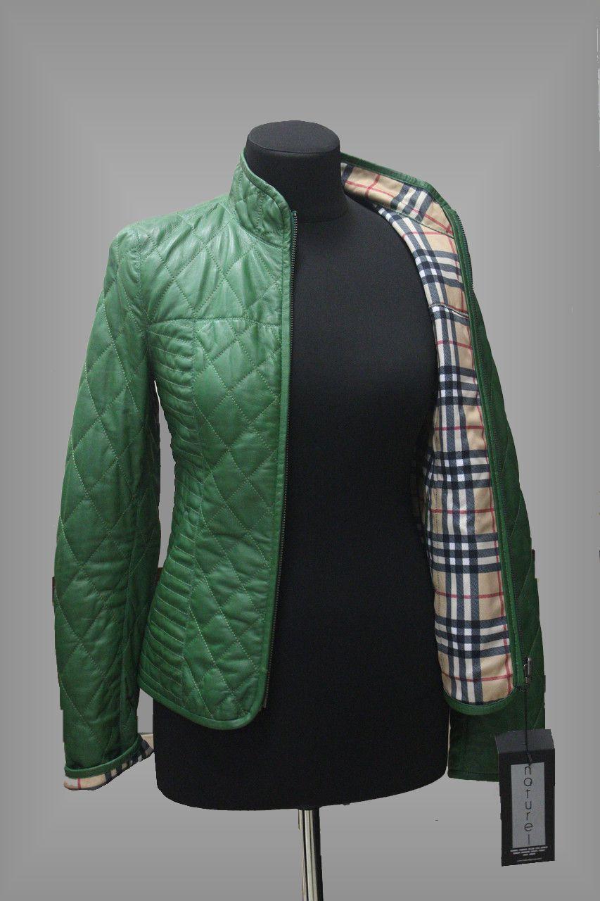 Двусторонняя кожаная зеленая куртка. Осень / весна