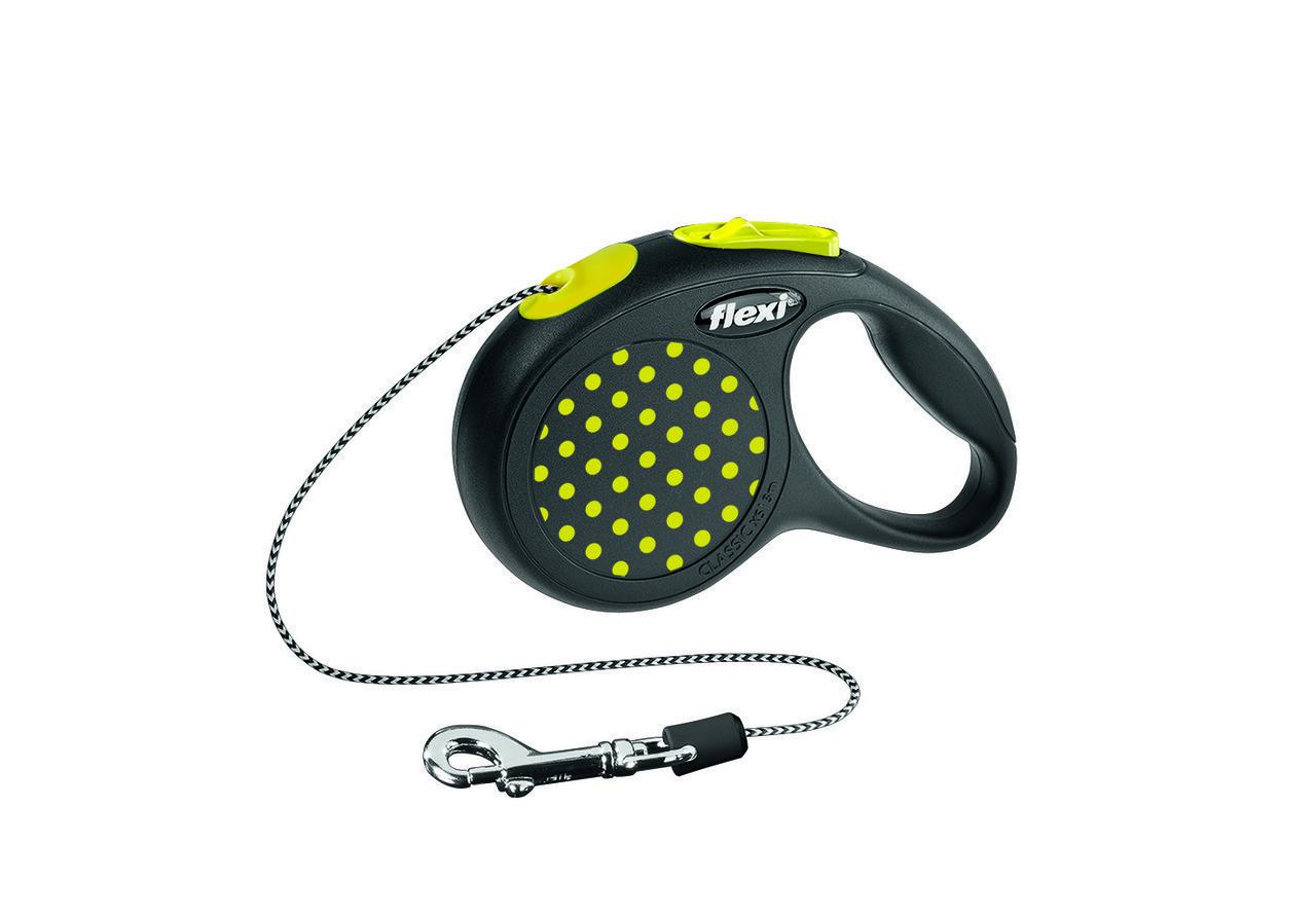 Рулетка Flexi Design для собак трос XS, до 8 кг желтый горошек