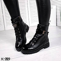 Женские зимние натуральные ботинки  на шнуровке