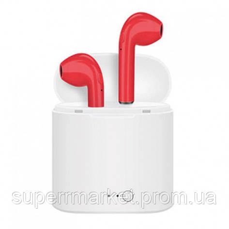 AirPods i7s case apple TWS копия, гарнитура Bluetooth headset стерео наушники, красные, фото 2