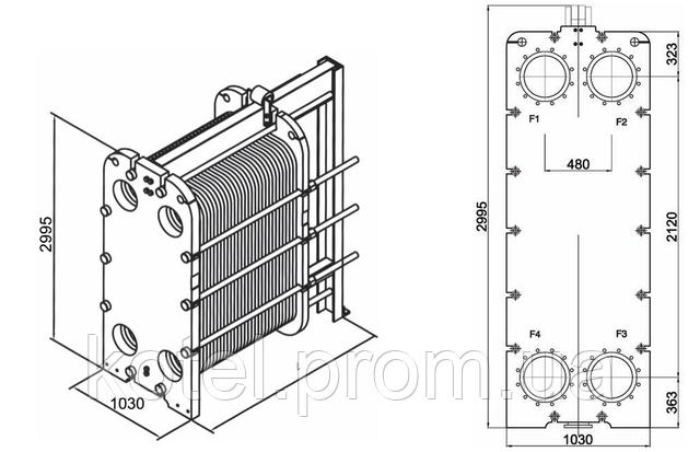 Размеры разборного пластинчатого теплообменника СТА-160