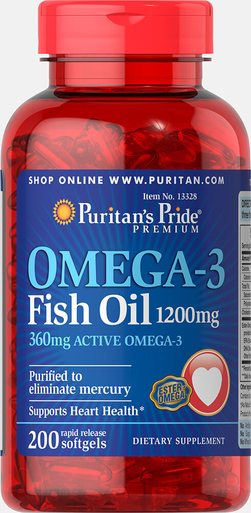 Puritan's Pride Omega-3 Fish Oil 1200 mg 200 softgels