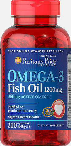 Puritan's Pride Omega-3 Fish Oil 1200 mg 200 softgels, фото 2