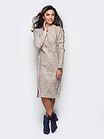 Теплое вязанное платье с разрезами по бокам- бежевый (44-48- один универсальный)