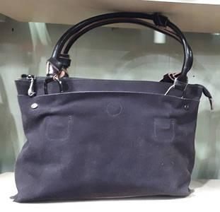 Женская серая сумка из замши