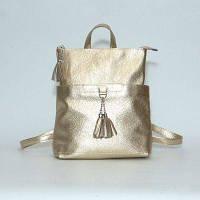 Рюкзак-сумка кожаный женский MODENA золотой, фото 1