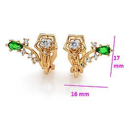 Серьги-клипсы, Роза с зеленым цирконием, позолота Xuping