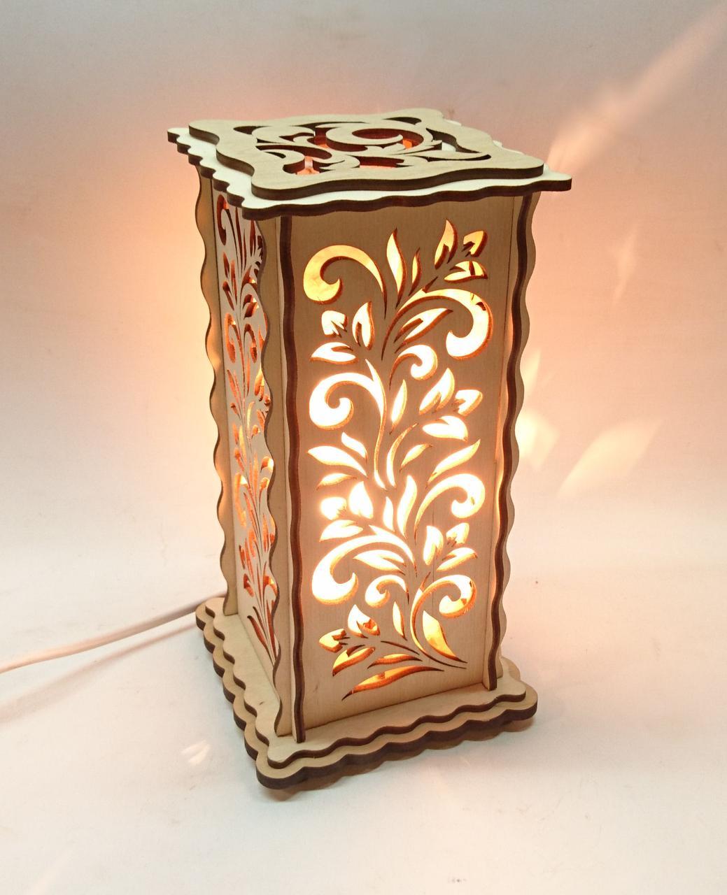 Соляной светильник Деревянный Узор-б-3