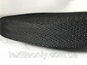 Тесьма сумочная ёлка цвет черный 20 мм