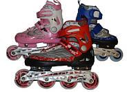 Коньки роликовые Sprinter раздвижные (закрутка), рама алюминий, подшипник ABEC-7, мягкий ботинок.Нови