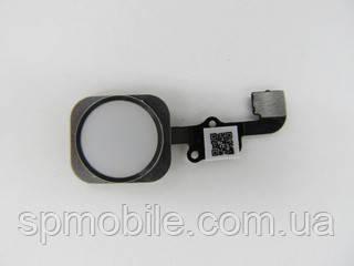 Шлейф для Apple iPhone 6S/ 6S Plus на кнопку HOME, з білою кнопкою і срібним обідком