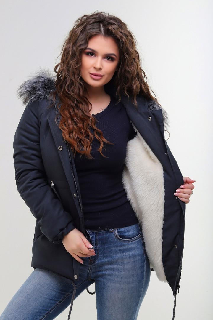 e87f085ef51 Женская зимняя куртка парка короткая с капюшоном утеплитель 200-ка  подкладка овчина Размер 42