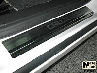 Накладки на пороги Chevrolet CRUZE 4D / 5D 2008- / 2011- / Шевролет Круз premium Nataniko, фото 1