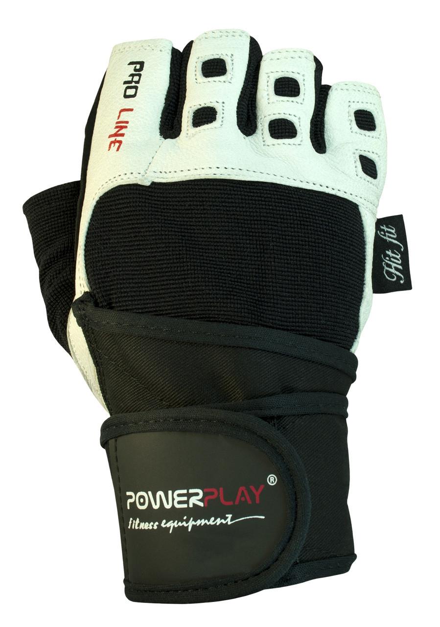 Рукавички для фітнесу PowerPlay 1096 Чорно-Білі L