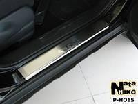 Накладки на пороги Honda CR-V III 2007- / Хонда СРВ premium Nataniko, фото 1