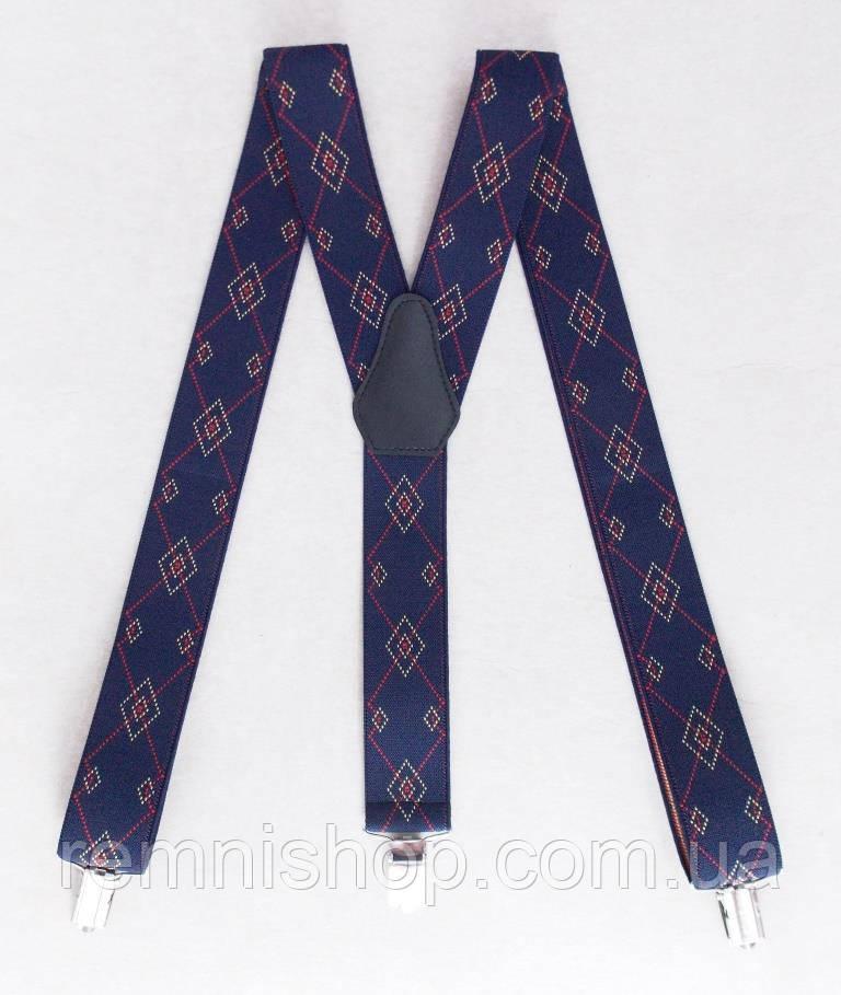 Мужские подтяжки синие с узором