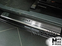 Накладки на пороги Mitsubishi COLT VI/VII 3D 2004-2008/2009- / Митсубиси Кольт premium Nataniko, фото 1