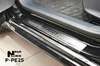 Накладки на пороги Peugeot 208 5D 2013- / Пежо 208 premium Nataniko, фото 1