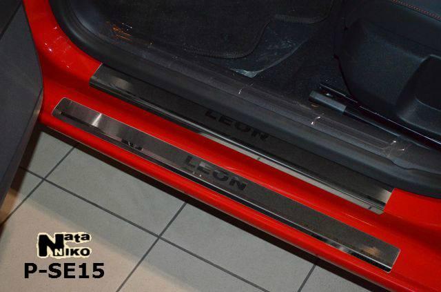 Накладки на пороги Seat LEON III 2013- / Сеат Леон premium Nataniko, фото 1