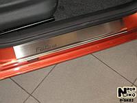 Накладки на пороги Skoda FABIA II 2007- / Шкода Фабия premium Nataniko, фото 1